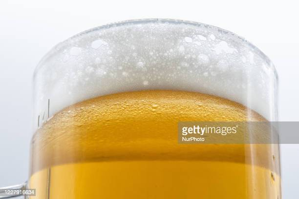 The picture shows a glass of beer in L'Aquila on August 5, 2020. 5th of August is the World Beer Day.