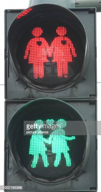The picture shows a traffic light at the Konstabler Wache shaped as homosexual traffic light couple in Frankfurt am Main Germany 14 July 2017 Ten...