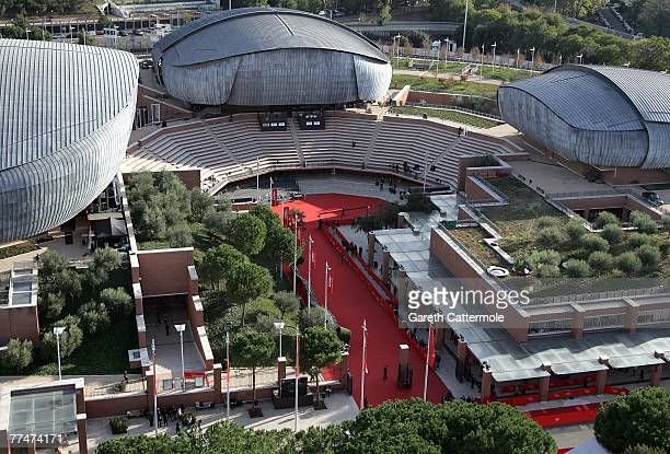 The picture shows an aerial view of the Auditorium Parco della Musica a complex designed by Renzo Piano on October 23 2007 in Rome Italy