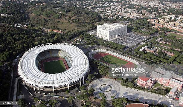 The picture shows an aerial view of the Olympic Stadium on October 23 2007 in Rome Italy