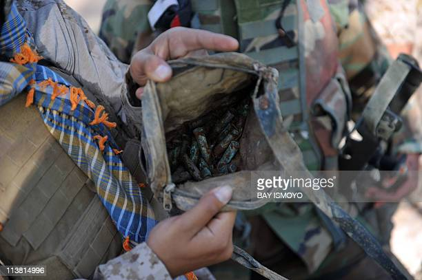 The picture shows bullets which were found by US Marine from Combat Operation Patrol Bandini of 2nd Marine 8 Batallion Weapons Company 81's Platoon...