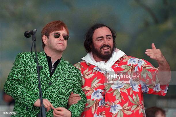The picture shows opera singer Luciano Pavarotti with Sir Elton John during the 1996 Pavarotti Friends charity concert in Modena Italy The Opera Star...