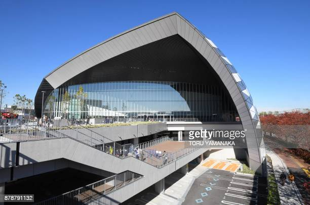The picture shows the exterior of Musashino Forest Sports Plaza which opened in Tokyo on November 25, 2017. The new facility will host Badminton and...