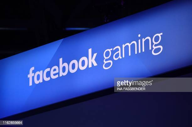 The picture shows the logo of facebook gaming during the media day of the Gamescom video games trade fair in Cologne western Germany on August 20 2019
