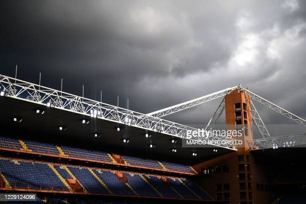 "The picture shows the ""Luigi Ferraris Stadium"" empty before the Italian Serie A football match Sampdoria vs Lazio in Genoa, on October 17, 2020."