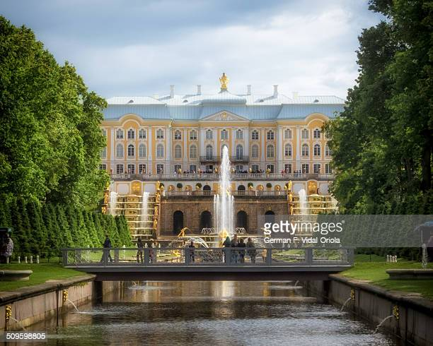 The picture shows the magnificent Peterhof Palace and Gardens in St Petersburg sometimes referred to as the Russian Versailles