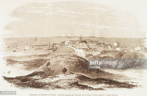 The picture shows the port of Freemantle in Western Australia and on the horizon Rottnest Island to where British criminals were to be deported in...