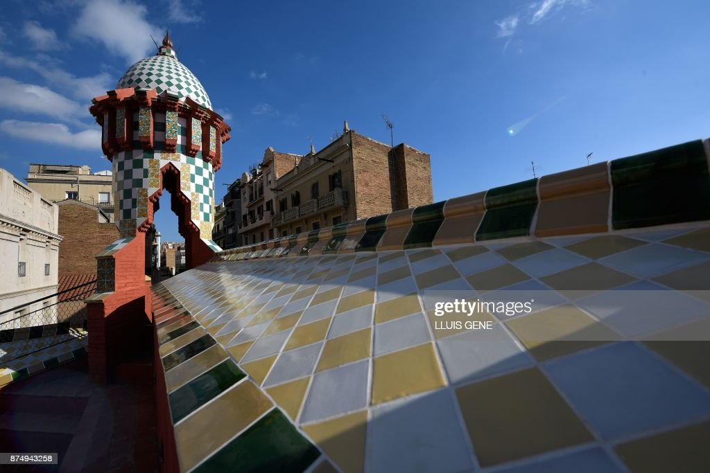 The Picture Shows Rooftop Of Casa Vicens House Designed