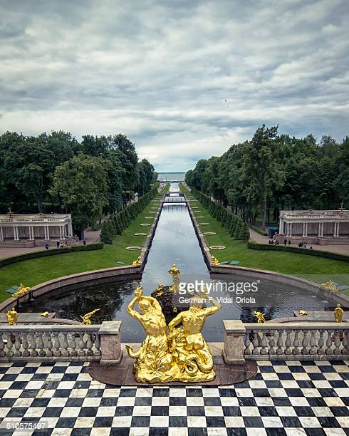 The picture shows the Samson Fountain and Sea Channel of the Peterhof Palace. This is part of the magnificent gardens of Peterhof Palace, St...
