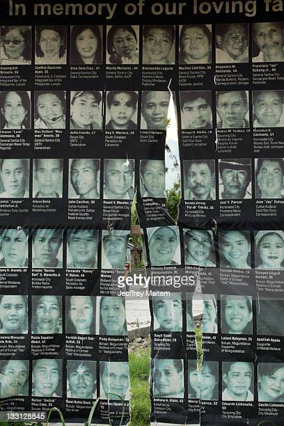 The pictures of some of the 58 people 32 of them journalists who were killed by members of a powerful Muslim clan on November 23 2009 are displayed...