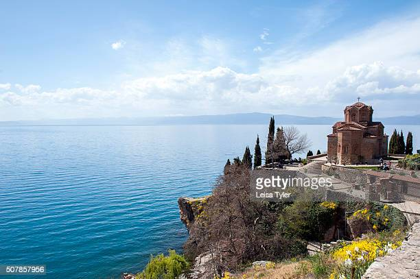 The picturesque church of Sveti Jovan on Lake Ohrid in the Republic of Macedonia Noted as the Jerusalem of the Balkans for its 365 churches one for...