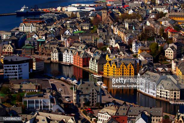 The picturesque city of Alesund from above