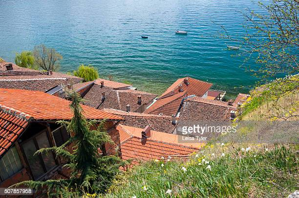 The picturesque town of Ohrid noted as the Jerusalem of the Balkans for its 365 churches one for each day of the year which sits on Lake Ohrid Lake...