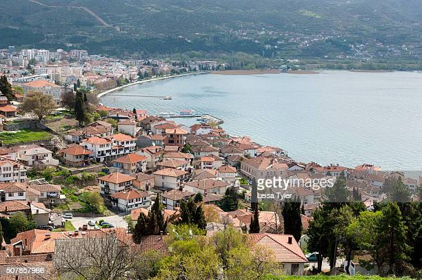 The picturesque town of Ohrid noted as the Jerusalem of the Balkans for its 365 churches one for each day of the year which sits on Lake Ohrid in the...