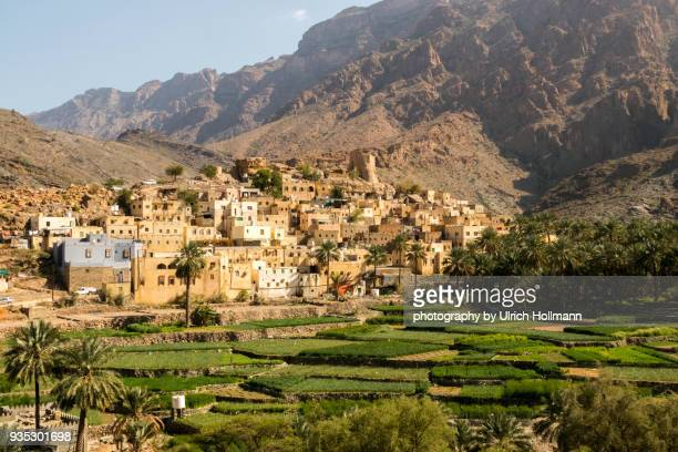 the picturesque village of balad sayt, al-hajar mountain, oman - oman fotografías e imágenes de stock