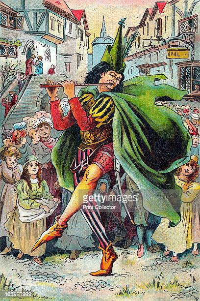 The Pied Piper leading away the children of Hamelin, c1899. Illustration from a children's book. The story of the Pied Piper is best known in the...