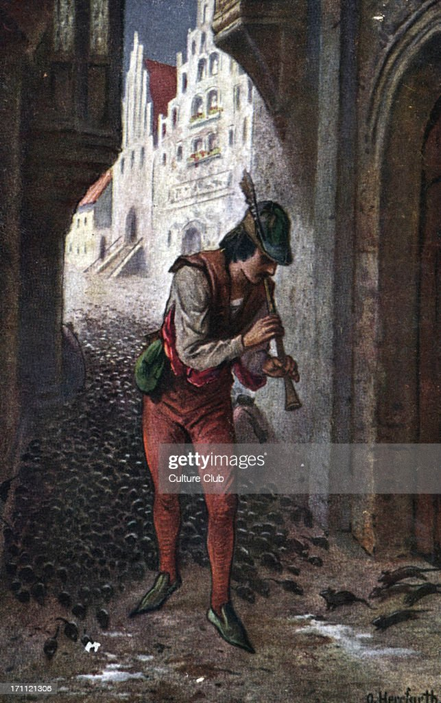 The Pied Piper of Hammelin. Illustration showing the rat-catcher luring the rats away from the town by playing his enchanted pipe. Der Rattenfanger von Hameln by O.Berrfurth. : News Photo