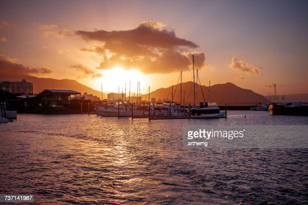 the pier at sunset, cairns, queensland, australia - cairns stock photos and pictures