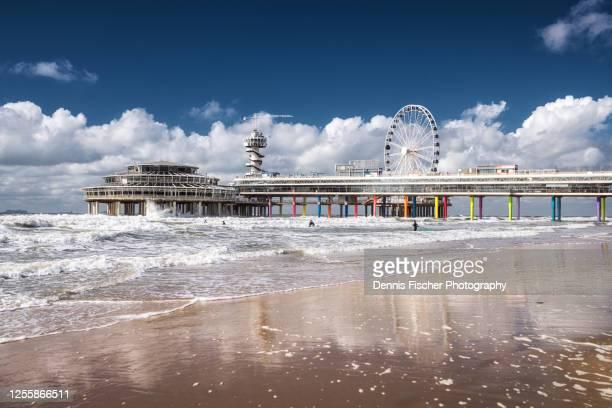 the pier - de pier - at the beach of scheveningen - the hague stock pictures, royalty-free photos & images