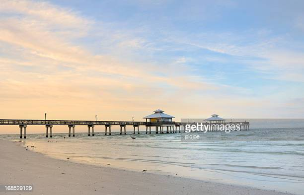 the pier in fort myers at dawn, florida usa - fort myers stock pictures, royalty-free photos & images