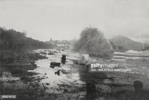 The Pier of Via Caracciolo in Naples destroyed by the storm January 25 Italy photo by T Bozza from L'Illustrazione Italiana Year XXXVII No 6 February...
