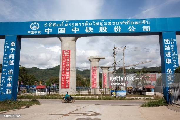 The piers for the Luang Prabang railway bridge a section of the ChinaLaos Railway built by the China Railway Group Ltd stand under construction near...