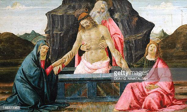 The Pieta detail from the predella of the Sacred Conversation by Domenico Ghirlandaio tempera on wood