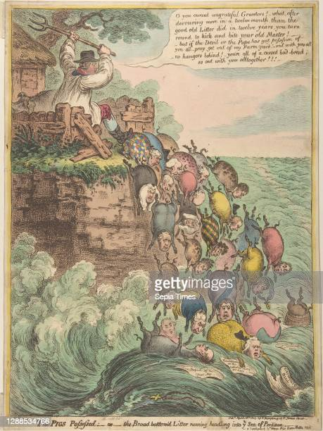 –or–the Broad Bottom'd Litter Running Headlong into Ye Sea of Perdition, April 18 Hand-colored etching, plate : 16 1/8 x 11 7/8 in. , Prints, James...