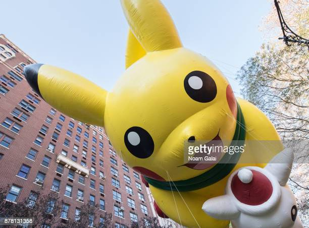 The Pikachu balloon is seen at the 91st Annual Macy's Thanksgiving Day Parade on November 23 2017 in New York City