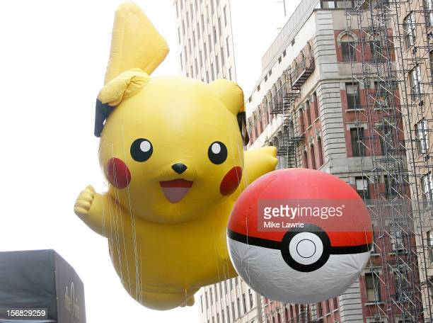 The Pikachu Pokemon balloons are seen during the 86th Annual Macy's Thanksgiving Day Parade on November 22 2012 in New York City