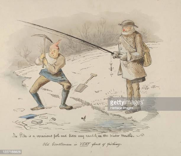 The Pike is a voracious fish and bites readily in the Winter months-Old Gentleman is VERY fond of fishing, 1830-64. Artist John Leech.
