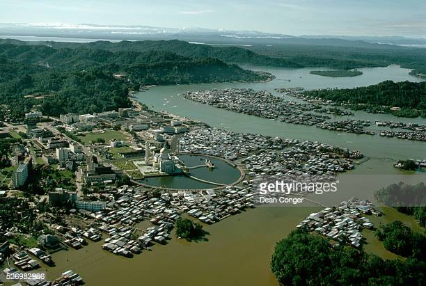 The pile dwellings of Kampng Ayer surround the Omar Ali Saifuddin Mosque in the Brunei capital of Bandar Seri Begawan