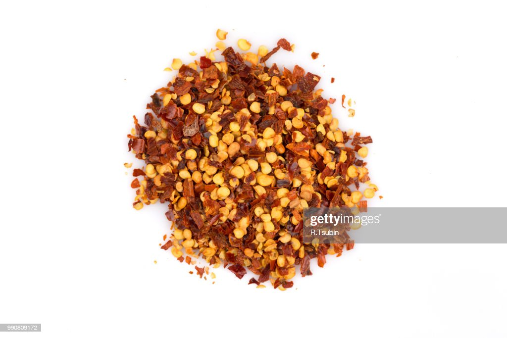The Pile Of A Crushed Red Pepper Dried Chili Flakes And
