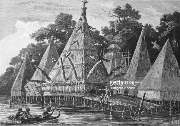 The pile village Tobadi in Humboldt Bay, Yos Sudarso Bay, Bay of New Guinea, Indonesia, 1887 / Das Pfahldorf Tobadi in der Humboldt Bay,...