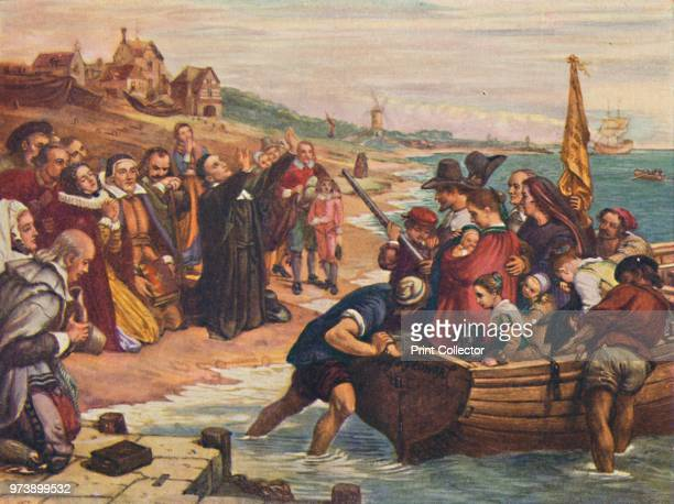 'The Pilgrim Fathers' 1916 From America in Pictures by H Clive Barnard MA BLitt [A C Black Limited London 1916] Artist Unknown