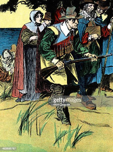 The Pilgrim fathers after arriving in America 1620 Pilgrim Fathers advancing into the American interior after crossing from Europe in the 'Mayflower'...