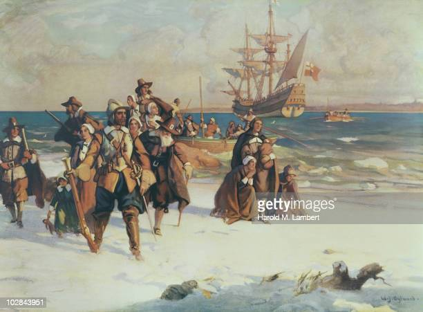 The Pilgrim Fathers arrive at Plymouth Massachusetts on board the Mayflower November 1620 Painting by WJ Aylward