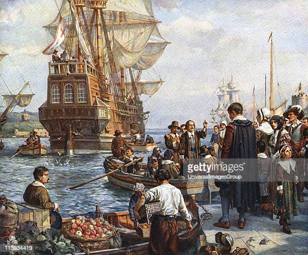 The Pilgrim Fathers boarding the 'Mayflower' for their voyage to America After painting by Bernard Gribble