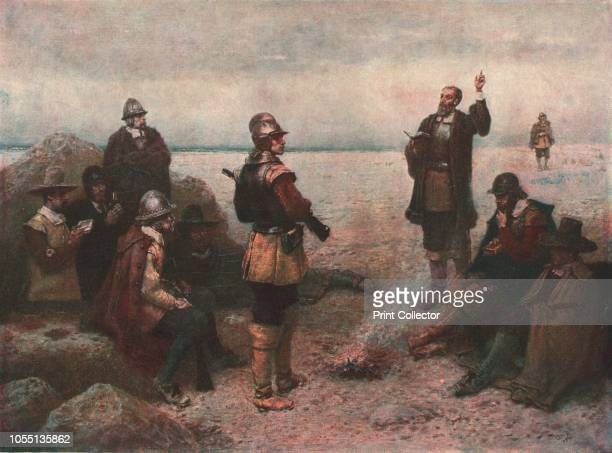 The Pilgrim Fathers', circa 1869, . After 'The Landing of the Pilgrim Fathers, 1620', painting by GH Boughton in the Museums Sheffield collection....