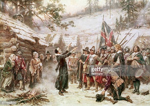 The Pilgrims at Plymouth The First Sermon Ashore 1621 Painting by JLG Ferris