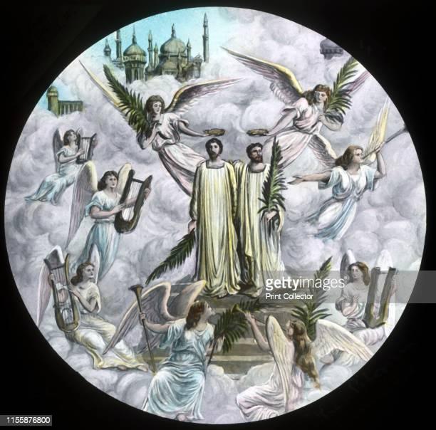 "The Pilgrims crowned', circa 1910. Scene from ""The Pilgrim's Progress"", by John Bunyan. Glass lantern slide produced by the Church Army Lantern..."