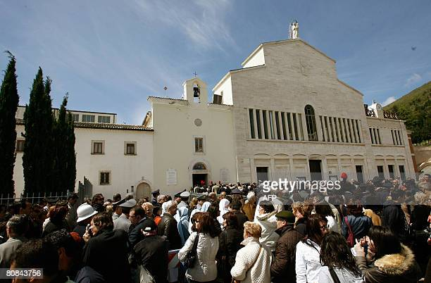 The pilgrims queue up to venerate the body of Padre Pio in a partglass coffin in the crypt of the old Church of St Mary of Grace at San Giovanni...