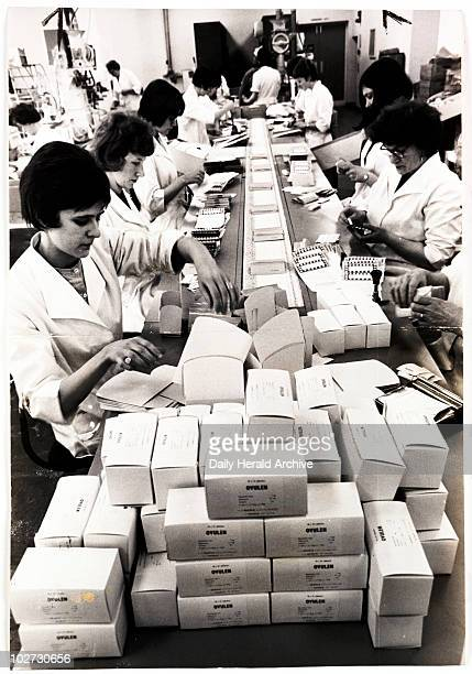 'The Pill' 1965 A photograph showing a factory line of women packing boxes containing the contraceptive pill taken by Chris Barham in 1965 for the...
