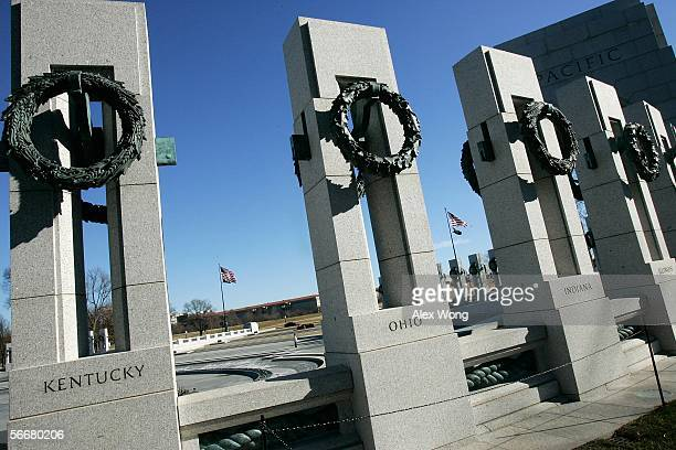 The pillars that represent different states of the US lie at the World War II Memorial January 26 2006 in Washington DC The memorial was designed by...