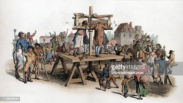 The Pillory. Four men being punished in the pillory jeered at by a crowd. By this date among crimes punishable by pillory were embezzlement of state...