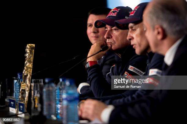 The pilot Carlos Sainz and codriver Lucas Cruz winners of 2018 Dakar Rally attend a press conference at Hotel Hilton Madrid Airport on January 22...
