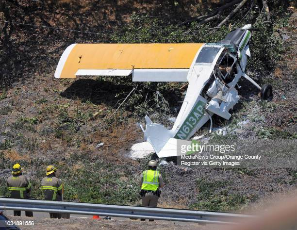 The pilot of a single engine banner tow plane taking off from Long Beach airport survived after he crashed on an embankment on the north side of...