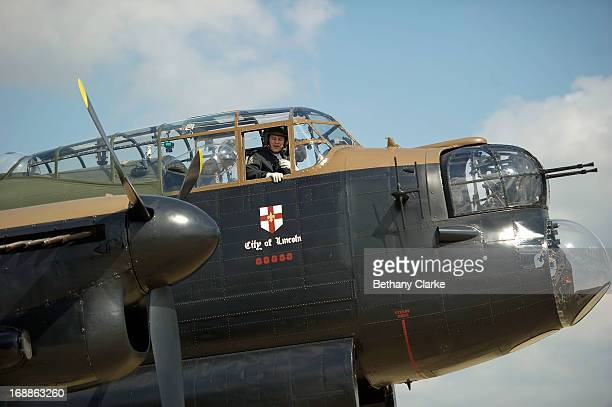 The pilots prepare for take off in a WWII Lancaster bomber at RAF Scampton on May 16 2013 in Lincoln England Ladybower and Derwent reservoirs were...