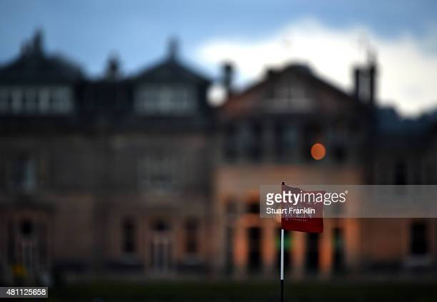 The pin flag on the 17th green flutters in the breeze during the second round of the 144th Open Championship at The Old Course on July 17 2015 in St...