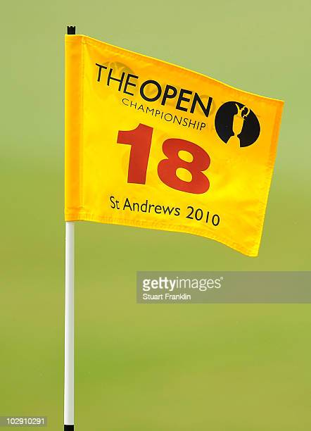 The pin flag on the 18th hole is seen during the first round of the 139th Open Championship on the Old Course St Andrews on July 15 2010 in St...